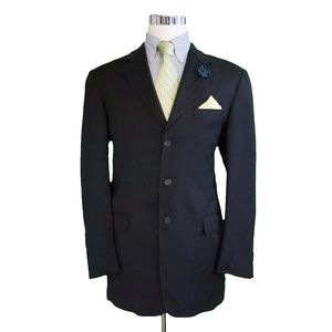 Burberry London Mens Wool Check Blazer 42L Blue